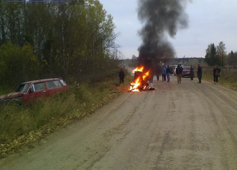 Мотоцикл сгорел вДТП