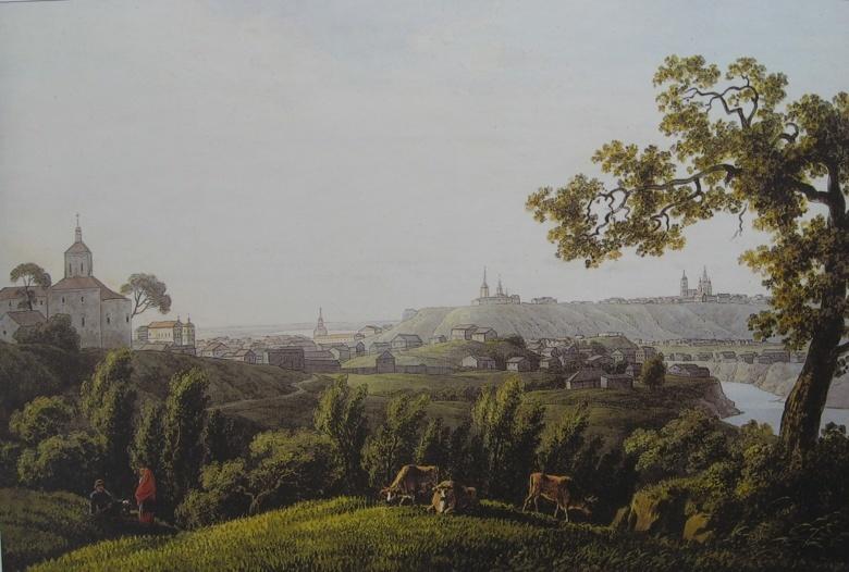Вид Томска 1806-1810. В самом центре — старый Троицкий собор, правее — Воскресенская церковь