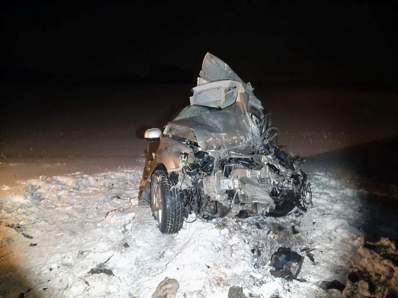 Водитель Mitsubishi столкнулся с грузовиком на томской трассе, выехав на «встречку»