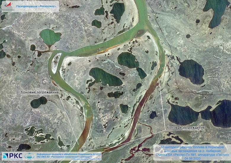 Спутниковый снимок разлива дизельного топлива в Норильске