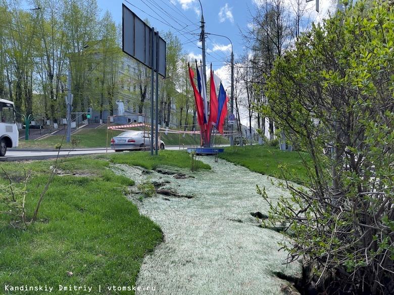 Тротуар в центре Томска подтопило горячей водой