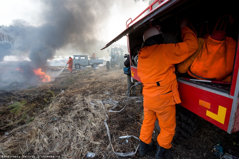 Гектар горящей сухой травы потушили за сутки в Томской области
