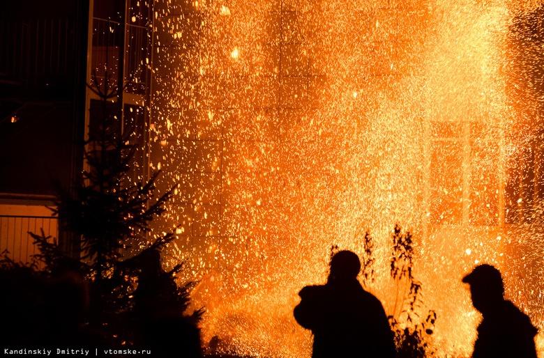 Разбушевавшийся пожар: пятиэтажка горит в Академгородке Томска