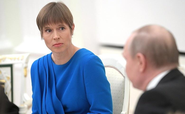 Керсти Кальюлайд на встрече с президентом России в Кремле в апреле 2019 года