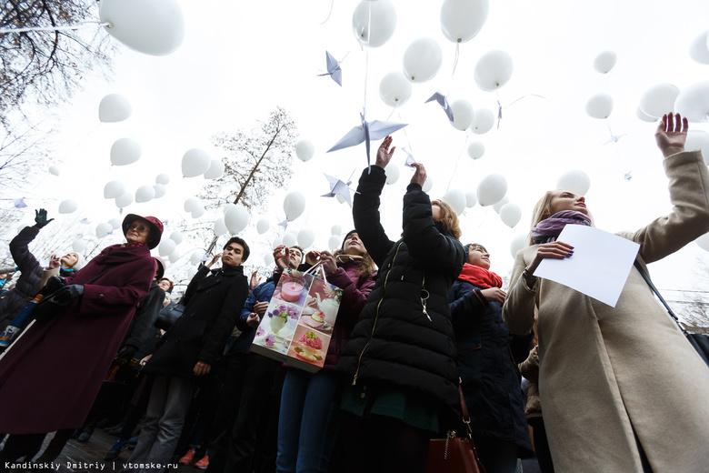 Белых «журавлей» запустили в небо томичи в память о павших воинах