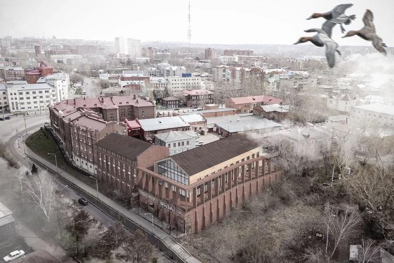 Эскиз пристройки к существующему зданию Томского областного суда