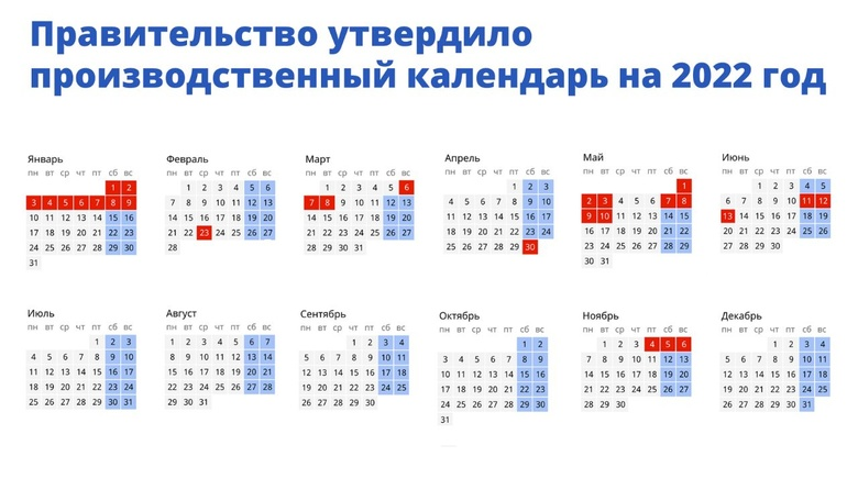 В России утвердили календарь выходных дней на 2022г